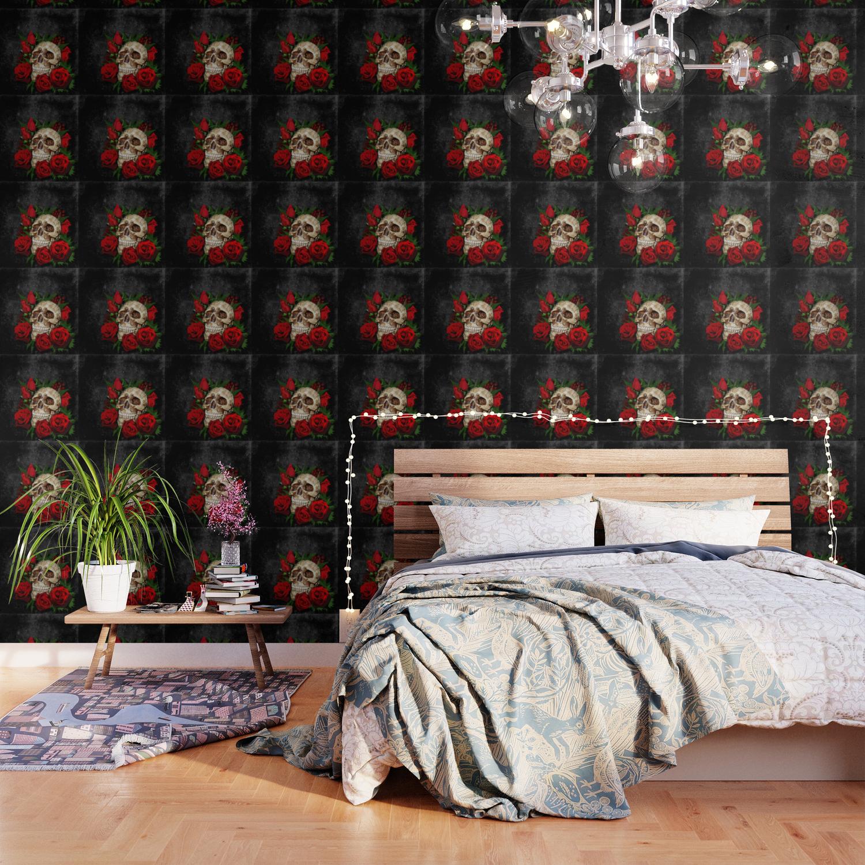 Red Rose Sugar Skull Wallpaper By Digitalizedteam Society6