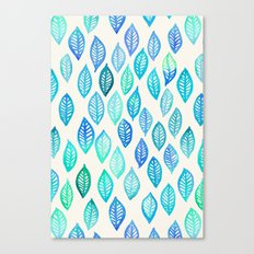 Watercolor Leaf Pattern in Blue & Turquoise Canvas Print