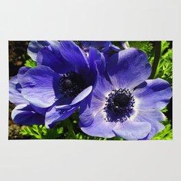 Two Blue Mauve Anemone - Close Up Windflowers  Rug