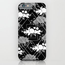 Geometrical modern black white floral pattern iPhone Case