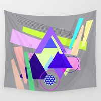 decal Wall Tapestries featuring lines and triangles  by haroulita