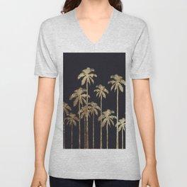 Glamorous Gold Tropical Palm Trees on Black Unisex V-Neck