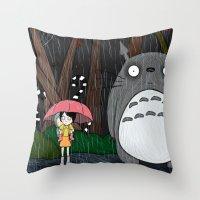 tim burton Throw Pillows featuring Tim Burton Totoro by Grace Isabel