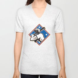 Baseball Hitter Bat Diamond Retro Unisex V-Neck