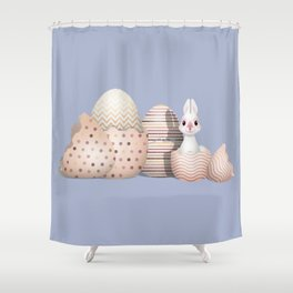 Kawaii Easter - Bunny hatching from Golden Colored Easter Eggs - light blue background Shower Curtain