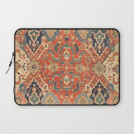 Geometric Leaves VII // 18th Century Distressed Red Blue Green Colorful Ornate Accent Rug Pattern Laptop Sleeve