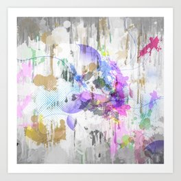 Subdued Running Paint Multi Pattern Abstract Art Print