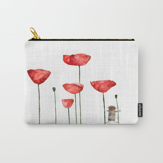 Little mouse loves big poppies  Carry-All Pouch
