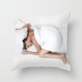 in the bed Throw Pillow