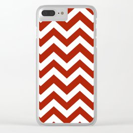 Rufous - red color - Zigzag Chevron Pattern Clear iPhone Case