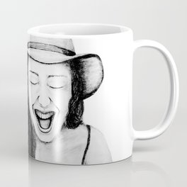 So Amused! Expressions of Happiness Series -Black and White Original Sketch Drawing, pencil/charcoal Coffee Mug