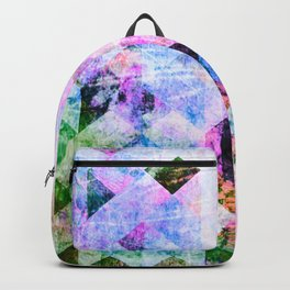 Pink/Blue Geometric Grungy Diamond Pattern Backpack