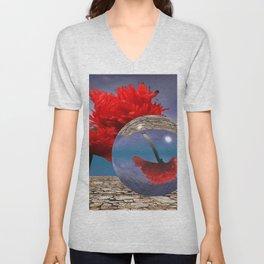 poppy and crystal ball - refraction of light Unisex V-Neck