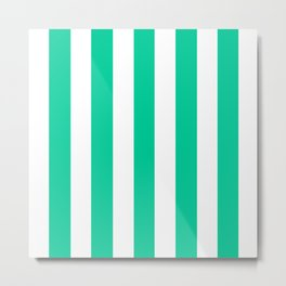 Caribbean green - solid color - white vertical lines pattern Metal Print