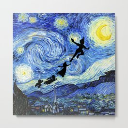 Peter Pan Starry Night Metal Print