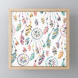 White Dreamcatcher Framed Mini Art Print