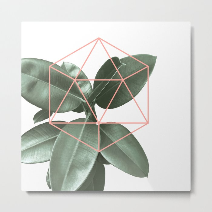 Geometric greenery Metal Print