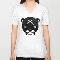 suit V-neck T-shirts featuring Bear Suit by Terry Mack