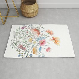 wild flower bouquet and blue bird- ink and watercolor 2 Rug