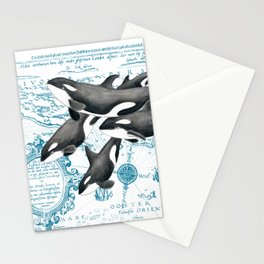 Orca Whales Family Blue Vintage Map Stationery Cards