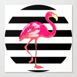 Flamingo, tropical summer t shirt, black and white stripes Canvas Print