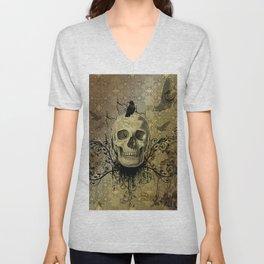 Skull and crow Unisex V-Neck