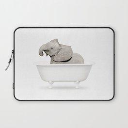 Baby Smiley Elephant in a Vintage Bathtub (c) Laptop Sleeve