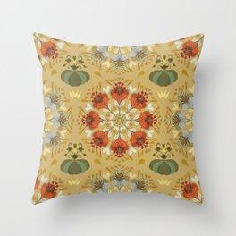 Autumn flower pattern 1c Throw Pillow