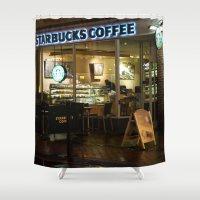 starbucks Shower Curtains featuring Starbucks by Vanessa Antonina