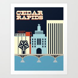 Cedar Rapids, Iowa Skyline Art Print
