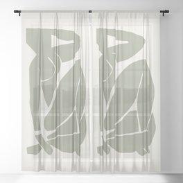 Sage Green Matisse Nude, Henri Matisse Abstract Woman Artwok, Art Decoration Sheer Curtain