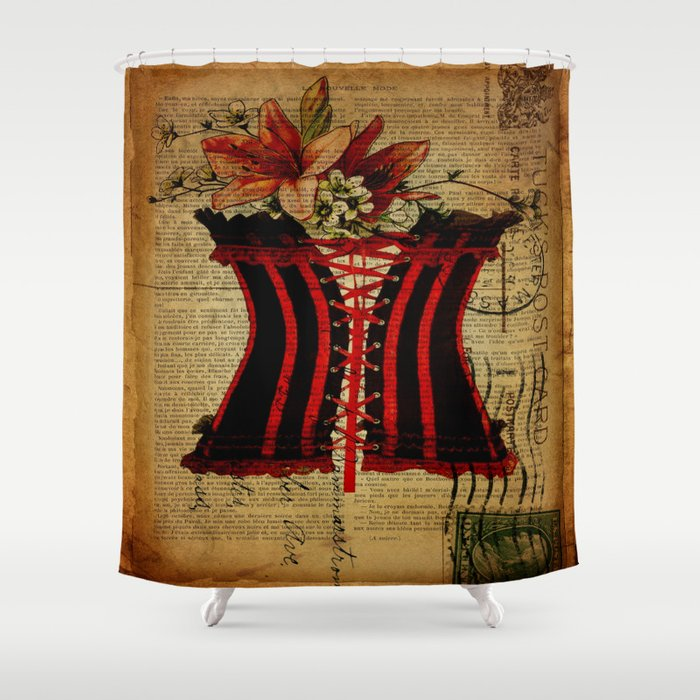 elegant girly newspaper print sexy black red corset vintage paris eiffel tower art Shower Curtain