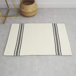 Gray Grey Stripes on light creme french grainsack digital design Rug