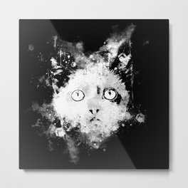 cute cat blue eyes splatter watercolor black white Metal Print
