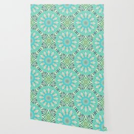Cream And Turquoise Flowers Wallpaper