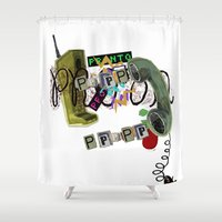 telephone Shower Curtains featuring telephone  by Gianluca Floris