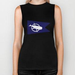 Nantucket Blue and White Sperm Whale Burgee Flag Hand-Painted Biker Tank