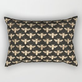 Honey Bees (Black) Rectangular Pillow