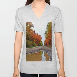 Dirt Road Puddle of Colors Unisex V-Neck