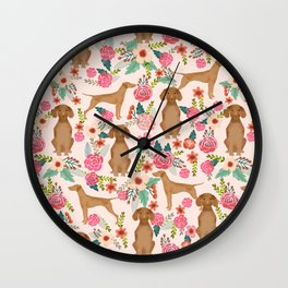 Vizsla florals dog pattern dog gifts dog breeds pet portraits by pet friendly Wall Clock