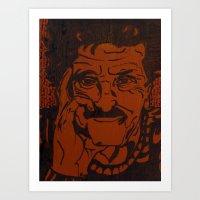 kurt vonnegut Art Prints featuring Kurt Vonnegut, Jr. by Emily Storvold