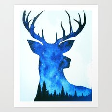 Spirit Deer // Space Antlers // Galaxy Stag // Double Exposure Deer Art Print