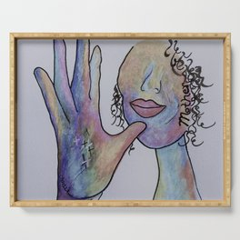 ASL Mother in Denim Coloring Serving Tray