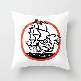 Galleon Ship Wolf on Bow Circle Retro Throw Pillow