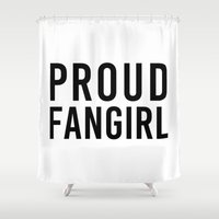 fangirl Shower Curtains featuring FANGIRL by The Fandom Designs