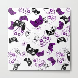 Video Game White & Purple Metal Print