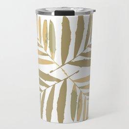 Geometric gold white leaves pattern tan metal bright leaf tropical , Christmas , Xmas , society6 Travel Mug