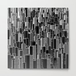 Tall city B&W inverted / Lineart city pattern Metal Print