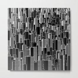 Tall city B&W inverted / Lineart city pattern Metal Print