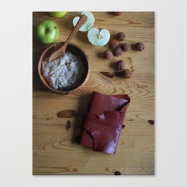 Book and oatmeal Canvas Print